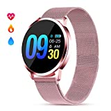 GOKOO Montre Connectée Femmes Smartwatch Sport Étanche IP67 Montre Intelligente Femme Bracelet Connecté Multifonction Cardiofréquencemètre Calorie Podomètre Compatible avec iOS Android (Rose)