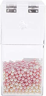 Blesiya Clear Acrylic Covered Makeup Brush Holder With Dustproof Lid & Pearls Beads, Pretty Display