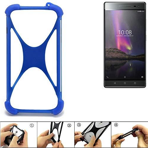 K-S-Trade Parachoques para Lenovo Phab 2 Pro Funda Bumper Anillo Protector de Silicona Cubierta de la Caja TPU Softcase Protector Azul (1x)