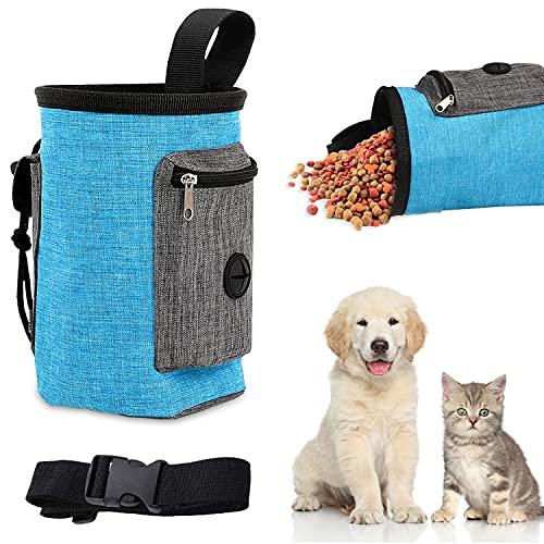 WELLXUNK Bolsa de Cintura Mascota Perro, Bolsas de Golosinas para Perros, Bolsa de Entrenamiento para Perros, Manos Libre Bolsa para Perros Comida, Bolsa para Aperitivos para Perros (M2)