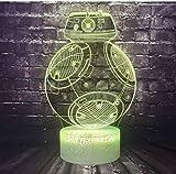 QAZQAZ moda 3D acrílico titanio máquina Bb8 Universo juguete Led decoración de la habitación caja fuerte de bebé bulbo ilusión noche luz regalo