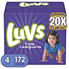 Diapers Size 4, 172 Count - Luvs Ultra Leakguards Disposable Baby Diapers, ONE MONTH SUPPLY