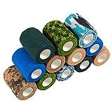 Juvale - Confezione da 12 bende coesive per medici veterinari di primo soccorso, sport, polso, caviglia in 6 colori, 2 rotoli ciascuno, 7,6 cm x 12,7 m