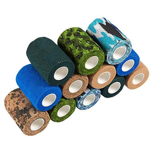 Juvale selbsthaftende Bandage, 12 Stück, selbsthaftende Bandage, medizinisches Tierarzt-Tape, Erste Hilfe, Sport, Handgelenk, Knöchel in 6 Farben, je 2 Rollen, 7,6 cm x 4,5 m