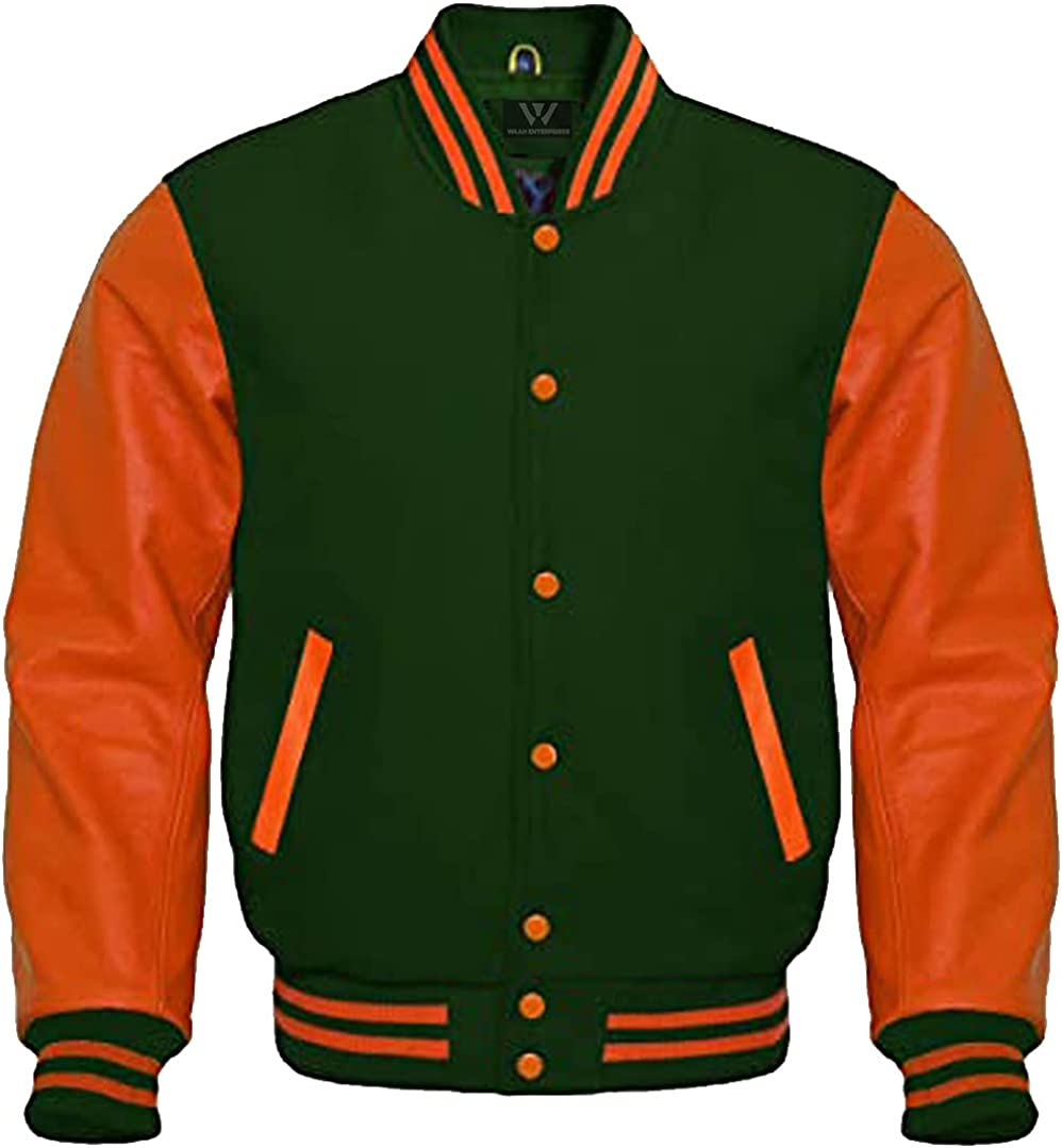 Baseball Letterman Bomber School Max 84% OFF College Jacket Wo Cheap mail order specialty store Green Varsity