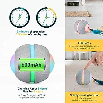 Ventvinal Jouet pour chat Jouet interactif 2 modes de mouvement Avec charge USB de la lumière LED Jouet intelligent pour chat