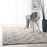 SAFAVIEH Berber Shag Collection BER213G Moroccan Non-Shedding Living Room Bedroom Dining Room Entryway Plush 1.2-inch Thick Area Rug, 5'3' x 7'6', Grey / Cream