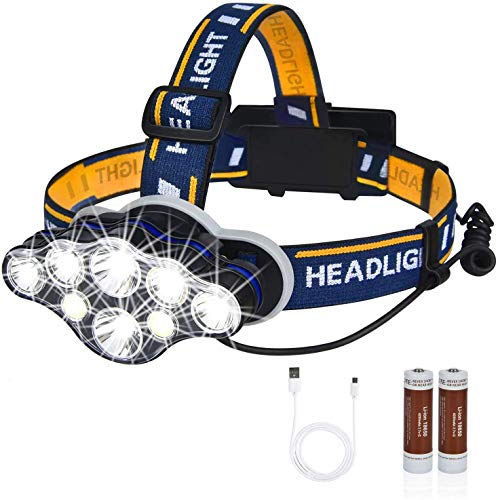 Rechargeable LED Headlamp, High Lumen IPX5 Waterproof 8 LED 8 Modes Headlamps with Red Light, Lightweight Adjustable Head Lamp for Running, Camping, Repairing, Hiking (USB Cable, Battery Include)