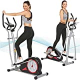 elifine Elliptical Machine Magnetic Elliptical Trainers Machines with LCD Monitor Smooth Quiet Driven Pulse Rate Grips Elliptical Exercise Machine for Home Gym Office Workout (Black)