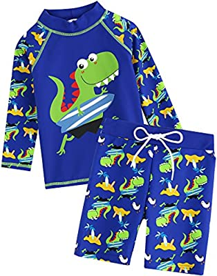 VAENAIT BABY Kids Boys Rashguard Swimsuit Long Shirt and Shorts Set Surfing Dino L