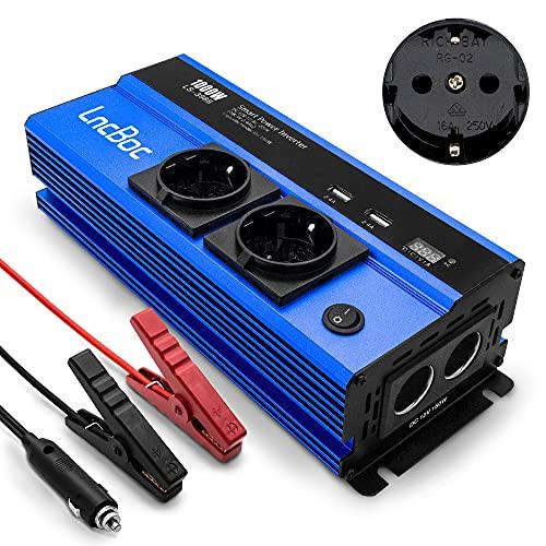 LncBoc 1000W Inversor de corriente DC 12V a CA 220-240V 3-en-1 Cargador de coche + Toma de corriente estándar Europen + Puertos de carga USB dual Convertidor de voltaje