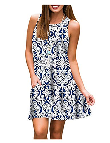 Tanst Sky Dresses for Women, Casual Clothing Fashionable Ladies Sleeveless Shift Dress with Pockets Solid Color Flower Pattern Long Tunics Feminine Evening Dinner Clothes Blue Large