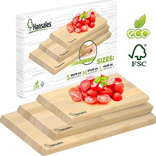 Schneidebrett Holz Set - 4 Größen - aus FSC-Holz Hergestellt - Umweltfreundliches Holzbrett für die Küche aus Birkenholz Hergestellt - Holzschneidebrett für Brot Gemüse Obst Fleisch Fisch