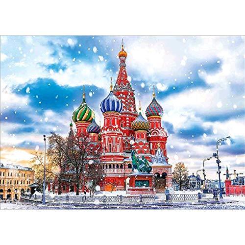 MXJSUA Kit de pintura de diamante 5D para adultos, diseño cuadrado rojo ruso, punto de cruz, decoración del hogar para salas de estar o dormitorios 5D Rhinestone Art 40 x 30 cm