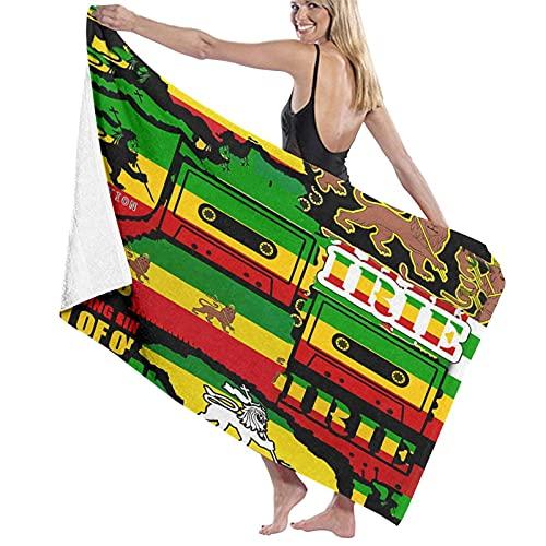 Toallas de baño de Microfibra de Gran tamaño,El León de Judá Rasta Rastafari Jamaica Reggaetoallas de baño de Secado rápido, adecuadas para Acampar, Gimnasio, 52 Pulgadas x 32 Pulgadas.