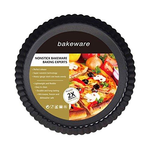 Patelnia do ciasta i quiche, 25 cm naczynia do pieczenia nieprzywierająca i szybkoschnąca powłoka luźna dolna patelnia do ciasta quiche, patelnia do ciasta tartowego, okrągła patelnia do quiche z obręczą
