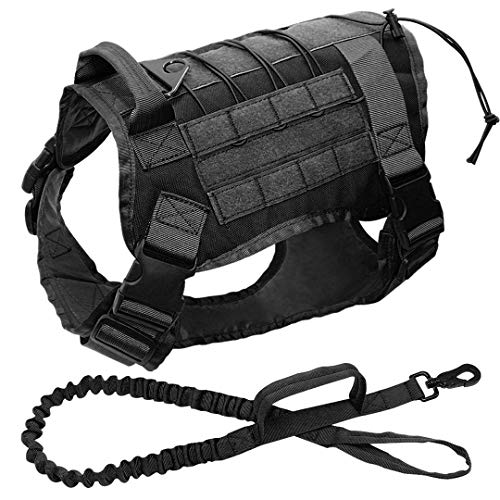 VGDWUJBNK Military Tactical Dog Harness K9 Working Dog Vest Nylon Bungee Leash Lead Training Running for Medium Large Dogs Black Chest 66 to 90cm