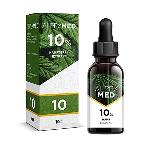 ALPEX-MED mit 10 Prozent feinstem Hanfterpen-Extrakt aus pflanzlichen Sekundärstoffen gelöst in erlesenem Premium Hanfsamenöl - 10ml.
