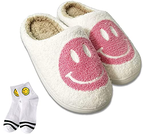 Women s Men s Smiley Face Plush Fluffy Slippers Memory Foam,Smiley Face Retro Slippers Fuzzy Fluffy Cozy Cute Home Shoes (36-37,Pink)