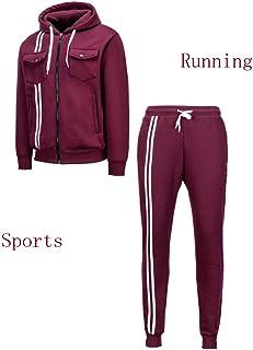 PTSports Mens Sports Athletic Tracksuit 2 Piece Set Jogging Zipper Jacket Sportswear