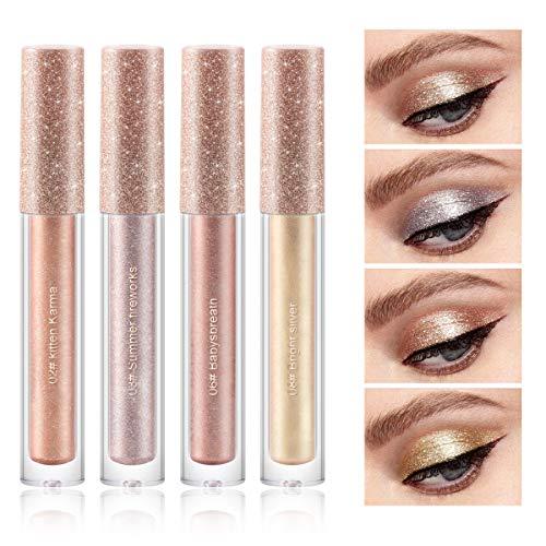 4 Colors Glitter Liquid Eyeshadow, Makeup Metals Glitter Gloss for Eyes Shimmer Eyeliners Waterproof Long Lasting Sparkling Eye Shadow Set