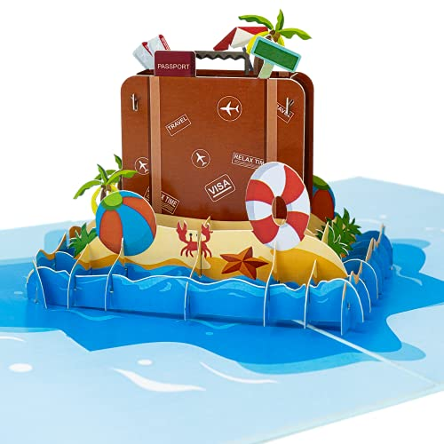 LIMAH® Pop-Up 3D Reisekarte/ Gutscheinkarte für Urlaub, Reise, Ausflug/ als Reisegutschein, Geschenk oder Geschenkkarte /Reisekoffer am Strand-Motiv/in Blau
