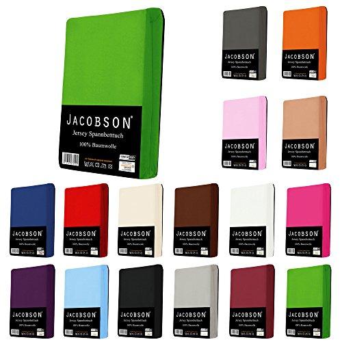 Jacobson Jersey Spannbettlaken Spannbetttuch Baumwolle Bettlaken (140x200-160x200 cm, Pink)
