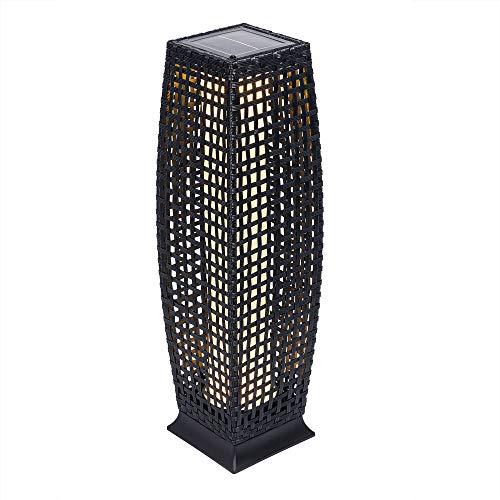 Deuba Poly Rattan LED Solarleuchte Solarlampe schwarz | 70cm Hoch | Stehend | Für Garten, Balkon & Terrasse - Außenleuchte Gartenleuchte Gartenbeleuchtung Solar Gartenlampe Außen