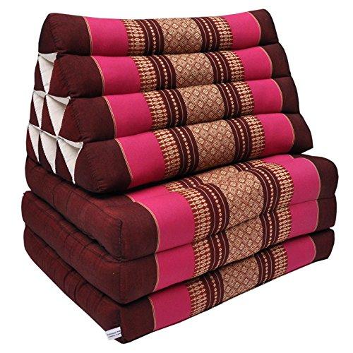 Wifash Matelas Thai 3 Plis avec Coussin Triangle, détente, Matelas, kapok, Plage, Piscine, fabriqué en Thailande, Bordeaux/Rose (81403)