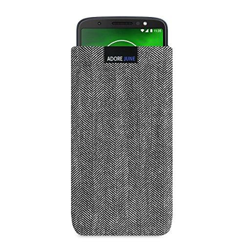 Adore June Business Tasche für Motorola Moto G6 Handytasche aus charakteristischem Fischgrat Stoff - Grau/Schwarz | Schutztasche Zubehör mit Bildschirm Reinigungs-Effekt | Made in Europe