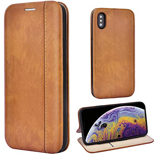 Leaum Handyhülle Leder für iPhone XS Hülle, Premium Handytasche Flip Schutzhülle für Apple iPhone XS & iPhone X Tasche (Braun)