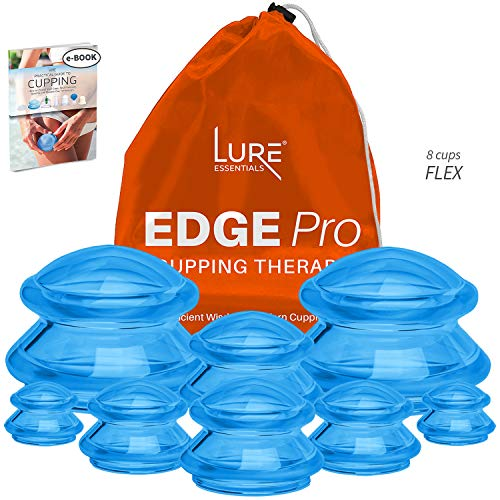 Edge Pro Cupping Therapy Sets - Cups for Cupping Silicone Vacuum Suction for Muscle, Joint Pain, Cellulite & More (Brilliant Blue, 8)