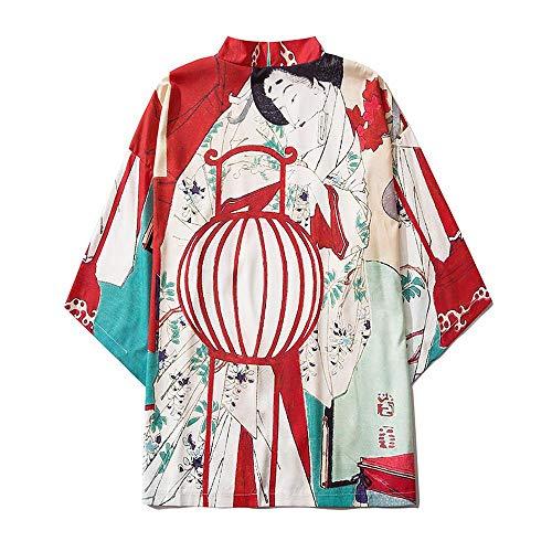 Mujeres Japonés Kimono Cardigan Japonés Kimono Albornoz Unisex Capa Chaqueta De Tres Cuartos Manga De Tres Cuartos Talla Grande Camisa Pijamas Sueltas Medium