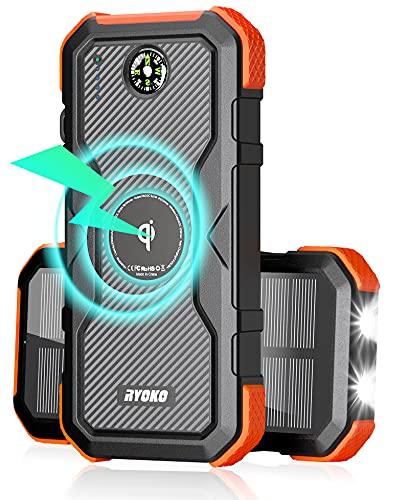 RYOKO 30000mAh Qi Wireless Solar Powerbank, Solarladegerät 18W Ausgang mit 3 USB/Wireless Ausgängen, 10W Tragbares Quickcharge mit LED Lampe,Kompass, IPX6wasserdicht für Smartphones, Tablets.