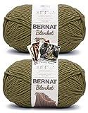 Bernat Blanket Yarn - Big Ball (10.5 oz) - 2 Pack with Pattern Cards in Color (Olive)