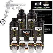 U-POL Raptor GM White Urethane Spray-On Truck Bed Liner Kit w/FREE Custom Coat Spray Gun with Regulator, 4 Liters