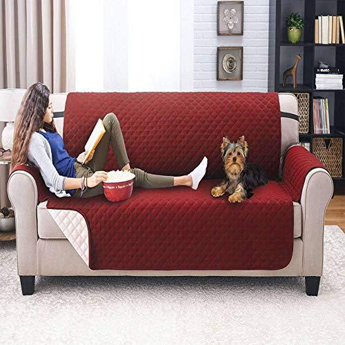 WLVG Funda de sofá Acolchada Resistente al Agua, Funda de sofá Reversible para 1, 2, 3 plazas, Fundas de sofá Antideslizantes, Protector de Muebles, Funda de sofá, Vino Tinto, Doble: 112X185CM (4