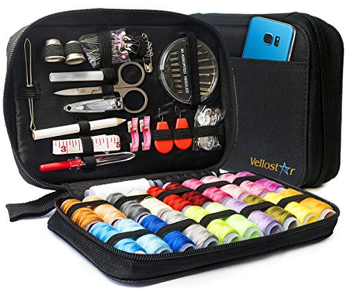 Vellostar Sewing KIT Premium Repair Set - Over 100 Supplies & 24-Color Threads, 30 Needles Set, Easy to USE Portable Mini Mending Button Travel Sew Kits, Sowing Stuff for Adults & Beginners