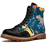 Anmarco Cartoon Dinosauro Love Music Notes Stampe High Top Lace up Classic Canvas Stivali invernali scarpe da scuola per uomini adolescenti ragazzi, (Multicolore), 45 EU