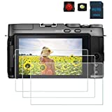 PCTC Tempered Glass Screen Protectors film Compatible for Fujifilm Fuji X-A7 XA7 ProtectIve cover (3 Packs), 2* Hot Shoe Cap Cover + 1* Macro SD/TF Card Adater