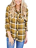 Grace Elbe Women's Collared Cuffed Sleeve Plaid Flannel Shirt Yellow Large