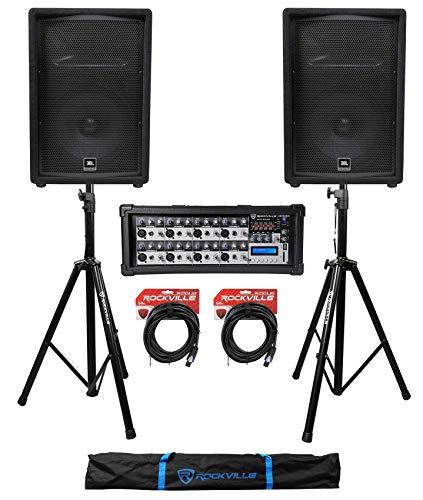 """(2) JBL Pro JRX212 12"""" 2000w PA/DJ Speakers+Powered Mixer w/Bluetooth+Stands"""