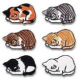 LEUYUAN Parches Ropa Termoadhesivos (6 piezas gatos durmiendo) DIY Ropa Parches para la camiseta Jeans Ropa Bolsas, Parches Ropa Termoadhesivos