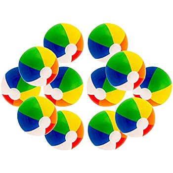 12  Rainbow Colored Party Pack Inflatable Beach Balls - Beach Pool Party Toys  12 Pack