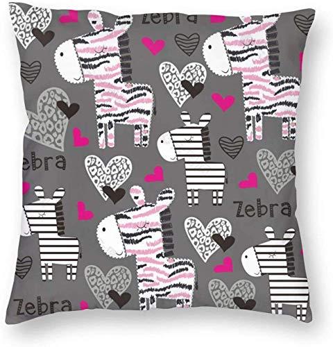 qidong Patrón de corazón de cebra 3D impreso patrón cuadrado Cushiondecorative funda de almohada decoración del hogar cuadrado 45 x 45 cm Pilloase/sala de estar/coche/dormitorio