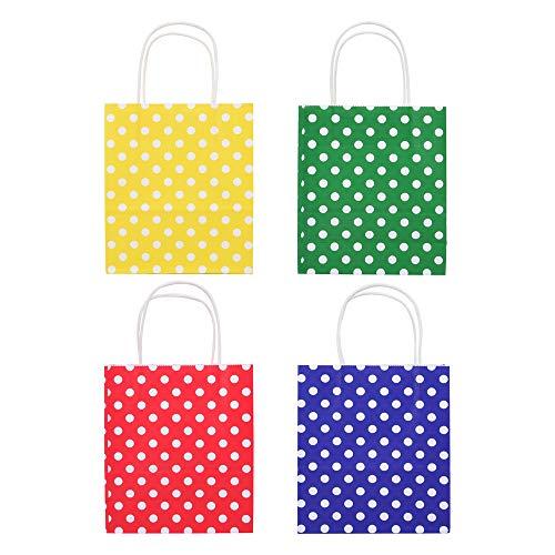 24 Geschenktüten mit Henkel, Geschenktaschen aus Kraftpapier in 4 verschiedenen Designs, 24 Geschenktüten in einem Set