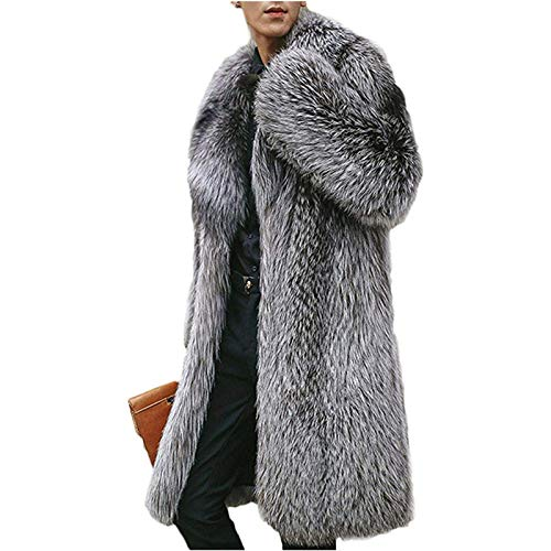 CMYA Abrigo de Chaqueta de Piel de Zorro sintético para Hombre, Invierno cálido, Grueso, cálido, Parka Larga para Hombre, Abrigos Punk, Prendas de Vestir, Rompevientos,5XL