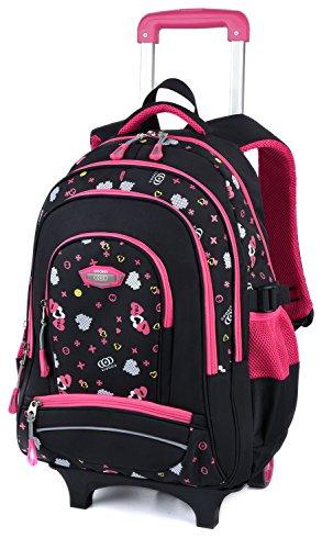 Coofit Borsa da scuola in nylon per bimbo Grande Nero e rosa