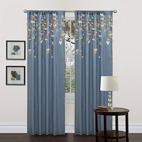 Lush Decor C01264Q12 Flower Drop Curtain Panel, Blue