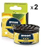 AREON Ken Désodorisant Voiture Citron Maison Tropical Fruits en Pot Couvercle Ventilé Réglable 3D (Lemon Lot de 2)